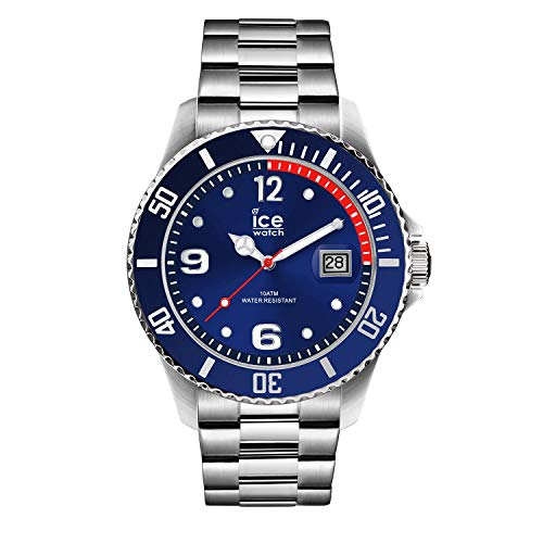 Ice-Watch - ICE steel Blue silver - Blaue Herren/Unisexuhr mit Metallarmband - 015771 (Medium)