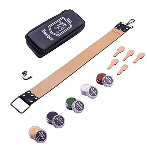 BACHER Coramella per affilatura di rasoio a mano libera REGULAR 56.5x5cm. Include Custodia per il trasporto e Balsamo Ammorbidente + kit di Composti per Levigatura