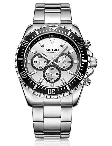 MEGIR Herren Armbanduhr Wasserdicht Leuchtend Chronograph Quarz Uhr mit Edelstahl Armband M2064