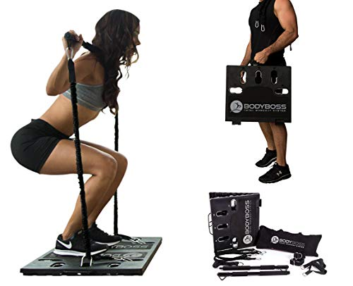 BodyBoss 2.0 - Full Portable Home Gym Workout Package + Resistance Bands - Collapsible Resistance Bar, Handles -...