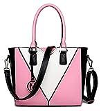YIYUNKJ Bolso de Hombro Forma V-Mirada del Cuero (Color : Pink)