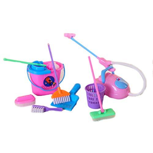 Haplws 9PCS / Set Strumento per la Pulizia della casa Fingere di Giocare Kit Giocattolo per Bambole Accessori per Bambole 9Pz Giocattoli per Bambini Accessori per la casa