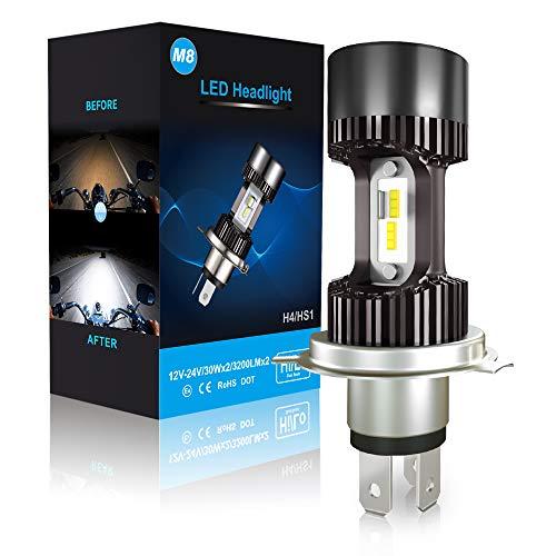 Car Rover LEDMT H4 HS1 Lampadina LED per fari moto, 6400 lm, 12 V, Xeno bianco 6000 K, confezione da 1
