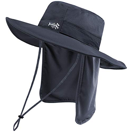 Bassdash UPF 50+ Sun Fishing Hat Water Resistant with Detachable Neck Flap Dark Grey