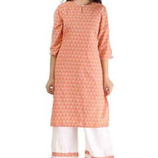 SINGNI Women's Cotton Printed Straight Kurta/Ethnic wear/Tradtional Wear Casual Wear/Ladies Kurti Orange