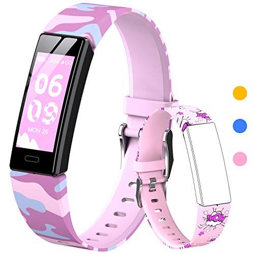 HOFIT Tracker Fitness, Smartwatch con Contapassi, Cardiofrequenzimetro e Monitor Del Sonno, Cronometro, Impermeabile Ip68, Orologio Braccialetto, 2 Cinturini, Regalo per Bambini Di 4-12 Anni(Rosa-A)