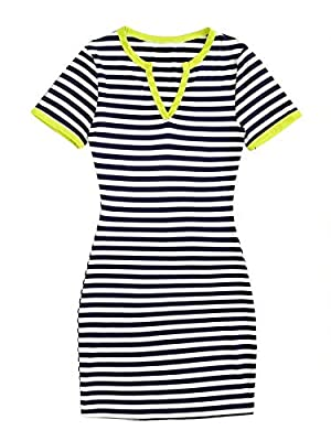 Fabric has some stretch Notch v neck, striped, bodycon mini dress Fit for summer casual occasion, school, club, nightclub, party, daily wear Machine wash cold gentle, with like colors, do not bleach. Please refer to Size Chart in Product Description ...