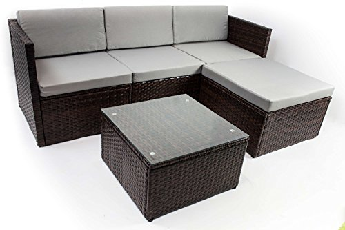 AVANTI TRENDSTORE - Adelino - Set da giardino con tavolino incluso, in polirattan marrone scuro e...