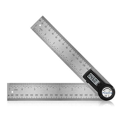 Goniometro Digitale, Preciva Goniometro 360 con Righello in Acciaio Inox, Campo di Misura: 000,0° ~ 999,9°, Più Preciso