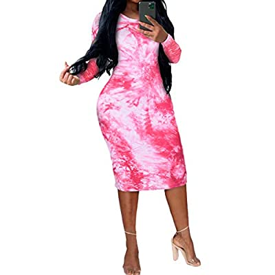 Material -- Polyester and Spandex. Super soft, elastic, comfortable, breathable, stretchy to wear. Features -- Tie dye, crew neck, long sleeve, bodycon, skinny stretchy pencil dress, elastic tight mini dress, sexy clubwear. Design -- Simple and gener...