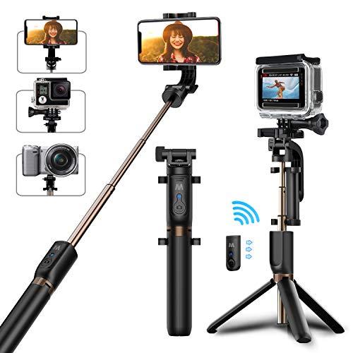Bovon Perche Selfie Trépied, Bluetooth Selfie Stick Monopode Extensible...