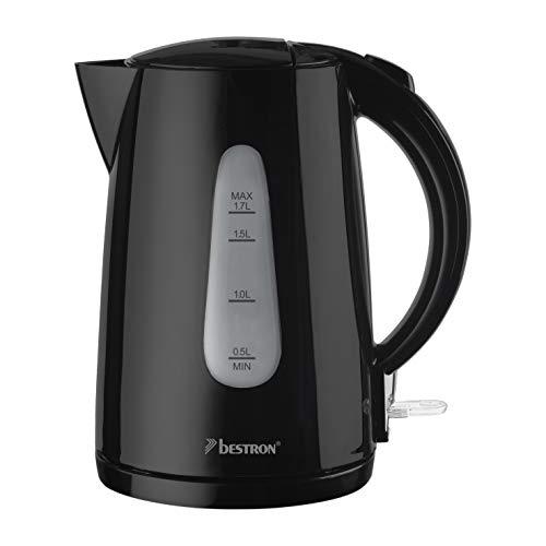 Bestron Wasserkocher mit Kochstopp-Automatik und Trockenkochschutz, 1,7 Liter, 2200 Watt, Schwarz