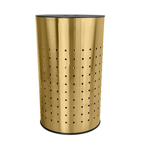 Gebürstet Gold Wäschekorb und Geschenkkörben | Abfalltonne belüftet Edelstahl Wäschekorb mit MDF Deckel | Life Time warranty|