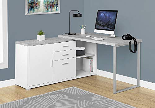 Monarch Specialties Computer Desk - 60'L White / Cement-Look...