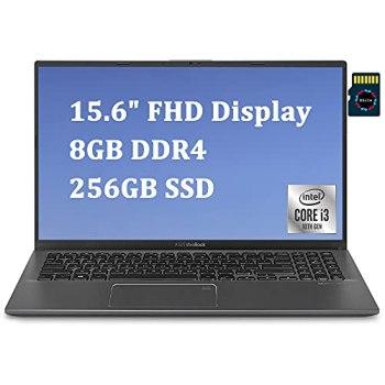 "ASUS VivoBook 15 2020 Newest Thin and Light Laptop I 15.6"" FHD Display I 10th Gen Intel Core i3-1005G1(> I5-7200U) I 8GB DDR4 256GB PCIe SSD I Backlit KB Fingerprint Win 10 + Delca 16GB Micro SD Card"