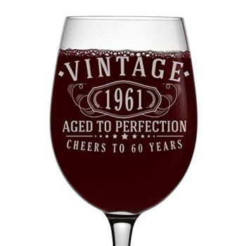 Vintage 1961 Etched 16oz Stemmed Wine Glass - 60th Birthday Aged to Perfection - 60 Years Old Gifts