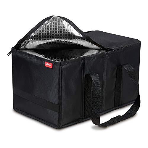achilles Smart-Box Cool Kühl-Tasche Einkaufs-Korb Falt-Box mit Thermo-Einsatz Klapp-Box mit Isolierung Picknick-Korb Trage-Korb Lebensmittel-Transport Schwarz, 40 cm x 20 cm x 20 cm