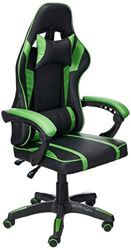 AudioTek Silla Gamer Gaming Consolas Pc Ergonomica Reclinable Colores (Verde)