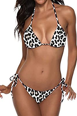 82% nylon and 18% spandex.Smooth fabric, stretchy, pro-skin, durable, makes it easy and very comfortable to wear. Fashion brazilian cut 2 piece bikini swimsuits feature halter triangle bikini tops, tie at neck and back,the removable padded up bras, o...