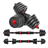 KAC Adjustable Dumbbells Barbell 2 in 1 with Connector, Adjustable Dumbbell Barbell Sets Total 66lbs, Lifting Dumbells for Body Workout Home Gym(2021 Upgrade,One Pair)