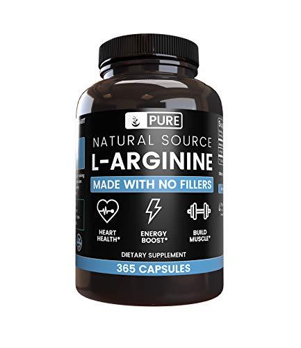 100% pura L-arginina | 90 días de suministro | sin magnesio o relleno de arroz, potenciador de óxido nitroso. Fabricado en Estados Unidos, sin OMG, sin gluten, vegetariano, extra potente y L-arginina natural, 365 Caps