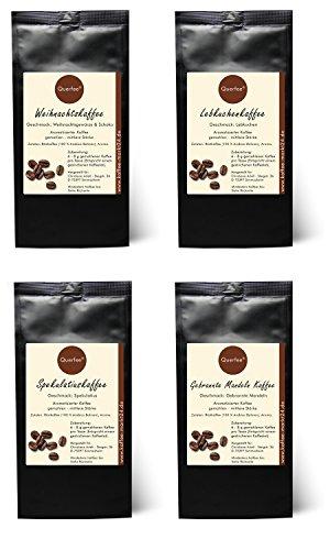 4 x Kaffee mit Geschmack zu Weihnachten als Geschenkset - Weihnachtskaffee, Spekulatius Kaffee, Lebkuchen Kaffee, Gebrannte Mandeln Kaffee - 100{3e7311137ea1285da30efb7ec5d8446e10f3c079792b4fe10c0b05ea7e91ae8d} Arabica Röstkaffee mit Aroma - 4x75 g (300 g)