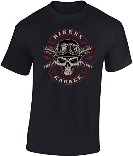 Camiseta: Biker's Garage - Regalo Motero-s - T-Shirt Biker Hombre-s y Mujer-es - Motocicleta - Bike - Chopper - Moto Club - Anarchy - Motociclismo - Calavera - USA - Motocross Vintage (M)