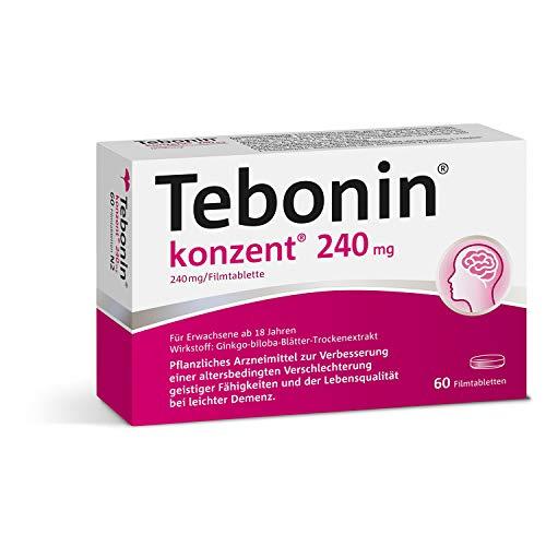 Tebonin konzent 240mg gegen Vergesslichkeit – Pflanzliches Arzneimittel mit Ginkgo-Spezialextrakt EGb 761(R) stärkt Gedächtnis und Konzentration – 60 Filmtabletten