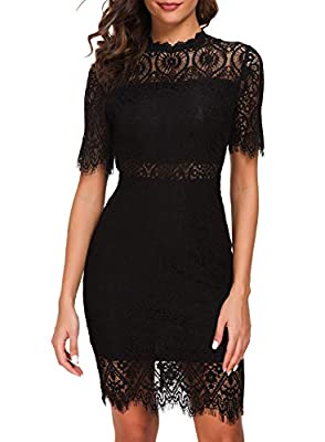 【DESIGN】: The Lace Dress is the perfect frock for any occasion! soft lining creates a cool two-piece look beneath sheer lace as it forms a rounded, scalloped neckline,short sleeves,and a sheath silhouette.Midi skirt with a sheer eyelash lace hem and ...