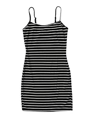 Summer Striped Rib-knit Bodycon Cami Dress Soft and comfortable fabric, Fabric has some stretch Feature: Striped, Spaghetti Strap, Bodycon, Rib-Knit, Slim Fit, Fashionable Suitable occasions: Perfect for casual wear, daily life and outgoing, fit for ...