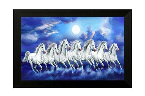 SAF 7 Running Horse Vastu UV Textured Home Decorative Gift Item Painting Framed Painting 20 Inch X 14 Inch SANFH6783