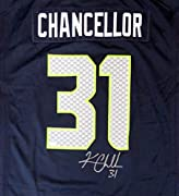 Free Shipping Certificate of Authenticity Hand signed by Kam Chancellor Seattle Seahawks Kam Chancellor Autographed Blue Nike Jersey Size XL MCS Holo