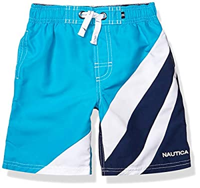 Features: keep your boy's skin protected with this Nautica swim trunks featuring uv protection 50+ UPF rating, contrast draw cords, elastic waistband, mesh lining, knee length Swim trunks: great to wear for pool days or a play day at the beach. This ...