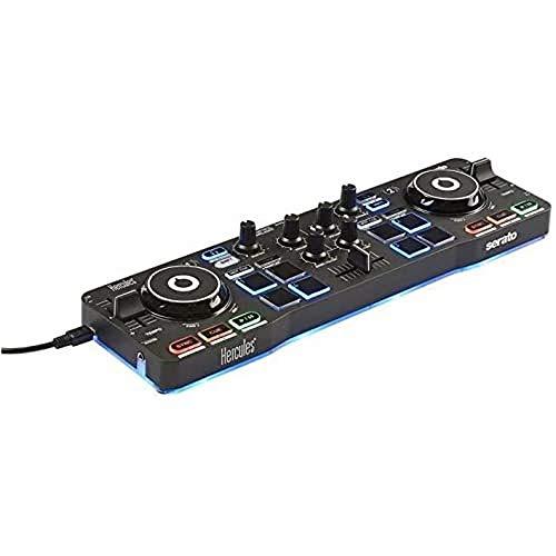Hercules DJControl Starlight  Controller portatile USB per DJ - 2 tracce con 8 pad e scheda audio - Serato DJ Lite incluso