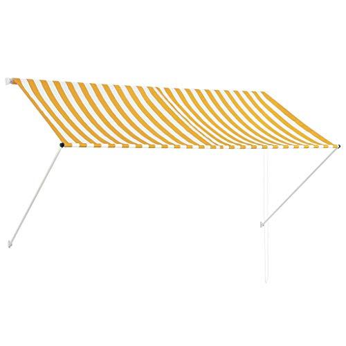 Tidyard Einziehbare Markise Sonnenmarkise Balkonmarkise Handbetrieben Sonnenschutz Stoffgewicht 180 g/m² 250 x 150 cm Gelb und Weiß