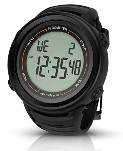 HealthSense PD-102 Smart 3D Pedometer Watch with Backlight, Dual Time Zone, 3D technology, Timer, Stopwatch etc(Black)