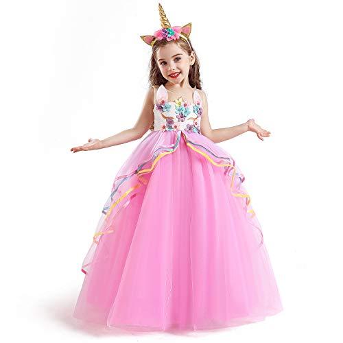 TTYAOVO Vestido de Fiesta con Volantes de Princesa sin Mangas para Niñas Tamaño(130) 5-6 años 700 Rosa