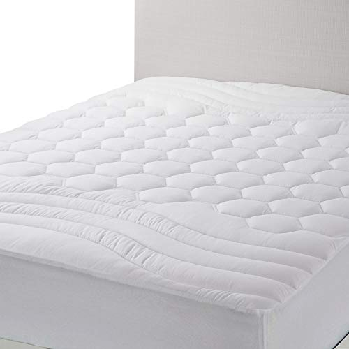 Bedsure Twin XL Mattress Pad Twin Extra Long Size - Breathable - Ultra Soft Quilted Mattress Pad Deep Pocket, Fitted Sheet Mattress Cover White