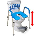 The Ultimate Raised Toilet Seat, Voted#1 Most Comfortable. Padded with Armrests. Adjustable Height. Premium Elevated Toilet Seat with Arms for Standard and Elongated Toilets.