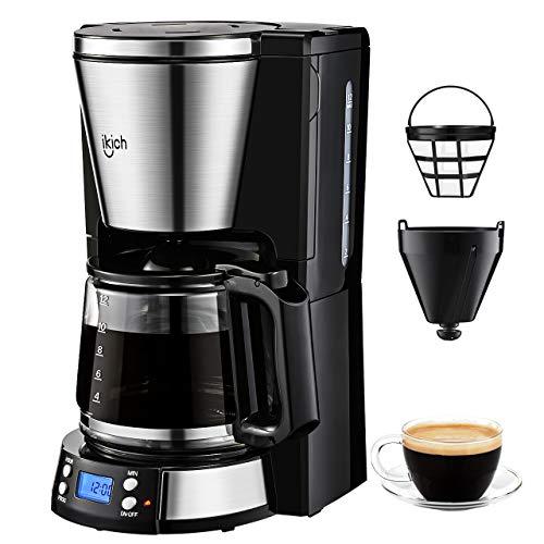 Macchina Caffè Americano, IKICH Macchina per Caffè Elettrica 12 Tazze Caffettiera Americana...