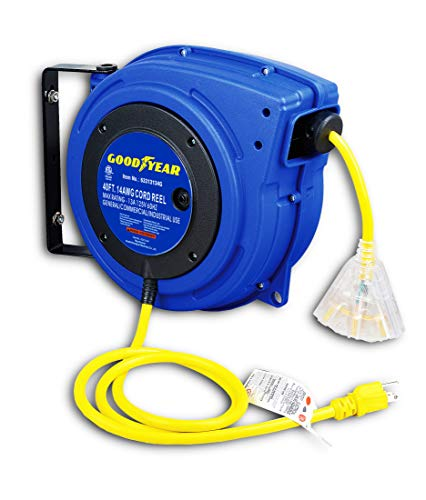 GOODYEAR Extension Cord Reel Extra Long (40 FT or 65 FT) 14AWG 3C SJTOW,...