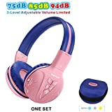 SIMOLIO Bluetooth Kids Headphones Volume Limited,Kids Safe Headphone with Share Jack, Wireless Headphones for Kids, Bluetooth Kids Headsets for iPad/iPhone/Kindle/Tablets/Car and Gift for Girls (Pink)