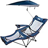 ANIGU Mesh Recliner Chair with Umbrella and Footrest (Blue)