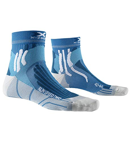 X-Socks Run Speed Two Socks, Unisex Adulto, Teal Blue/Pearl Grey, 42-44