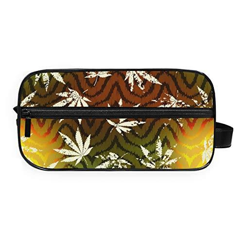 Montoj - Neceser para cosméticos, diseño de hojas de cáñamo