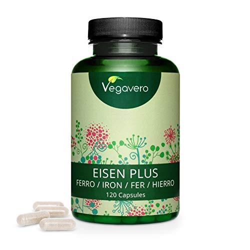 Hierro PLUS Vegavero® | Apto Para Veganos | Con Vitamina C + B12 + B2...