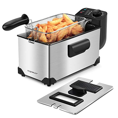Aigostar Deep Fryer, Electric Deep Fat Fryers with Baskets, 3 Liters Capacity Oil Frying Pot with View Window, 1650W Ushas