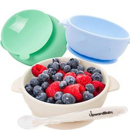 Baby Bowls with Guaranteed Suction – 4 Piece Silicone Set with Spoon – UpwardBaby – for Babies Kids Toddlers – BPA Free – First Stage Self Feeding