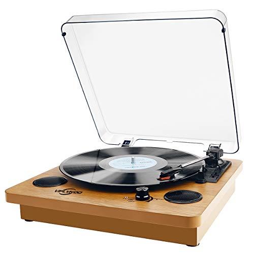 Plattenspieler,VIFLYKOO Bluetooth Schallplattenspieler Vinyl Plattenspieler Turntable und Digital Encoder mit Lautsprecher Riemenantrieb Aux-In RCA 33/45/78 U/min - Naturholz
