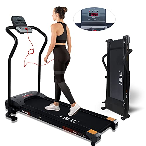 ISE Tapis Roulant Pieghevole Elettrico, Motore 10 km/h 750W, Folding Treadmill con Schermo LCD per Velocit, Tempo, Distanza e Calorie, Ideale per Casa/Ufficio, Max.120 kg, SY-1006